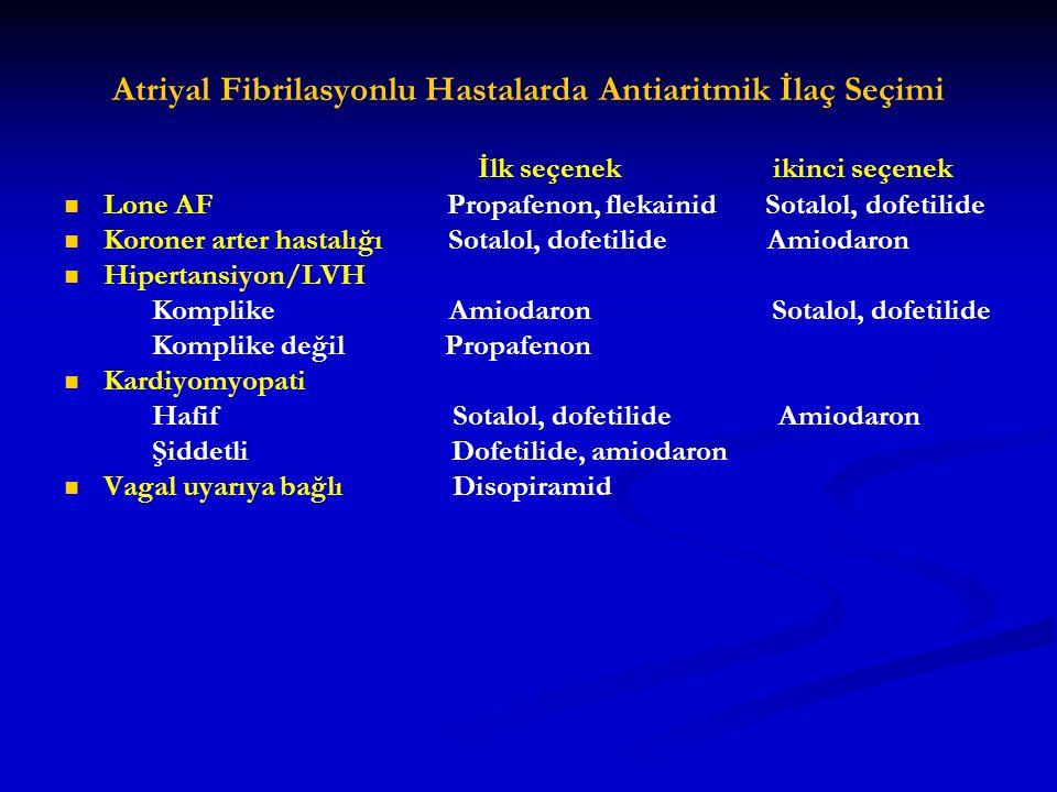 Atriyal Fibrilasyonlu Hastalarda Antiaritmik İlaç Seçimi