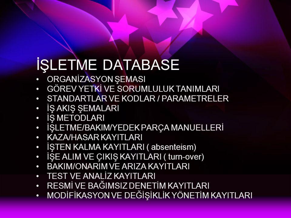 İŞLETME DATABASE ORGANİZASYON ŞEMASI