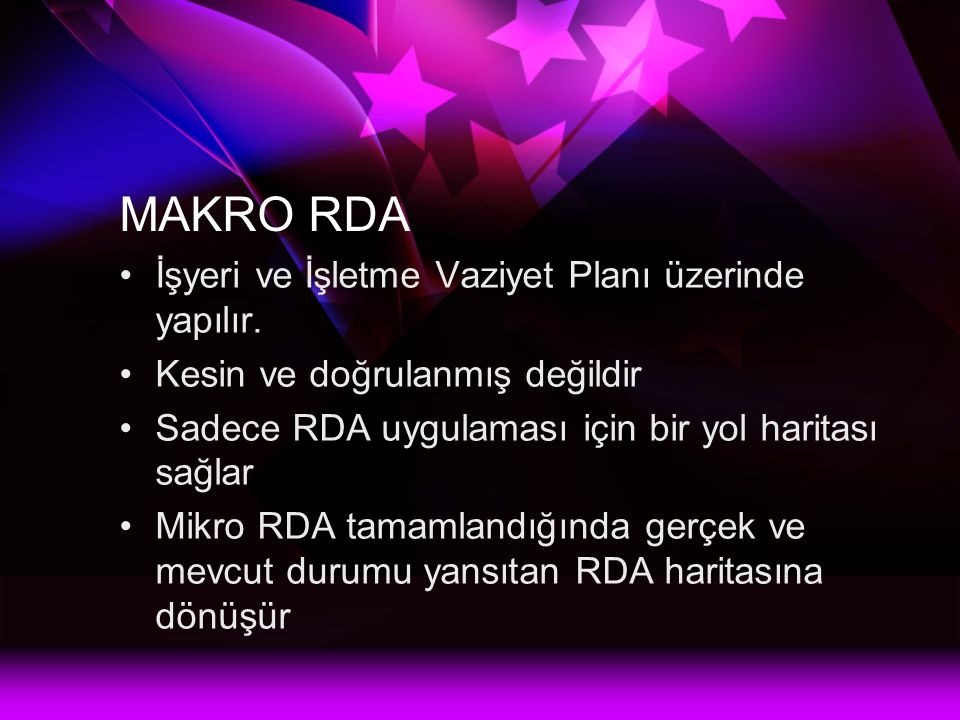 MAKRO RDA İşyeri ve İşletme Vaziyet Planı üzerinde yapılır.