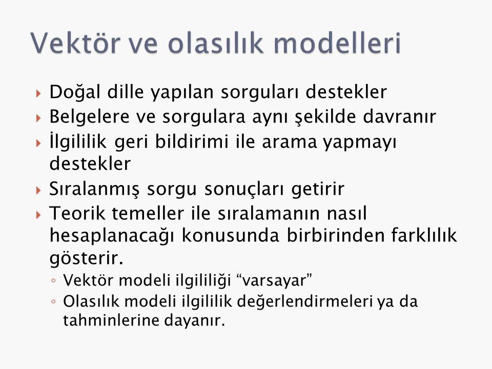 Vektör ve olasılık modelleri
