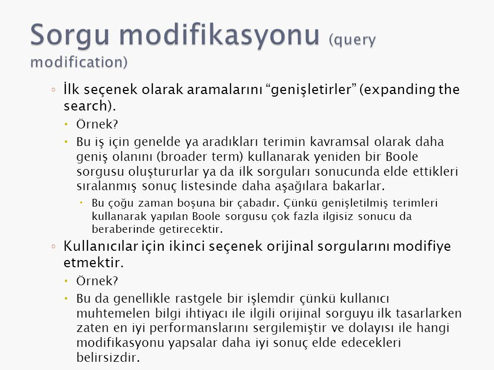 Sorgu modifikasyonu (query modification)