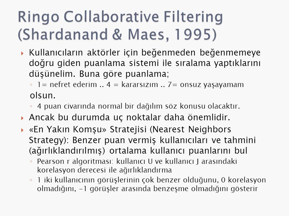 Ringo Collaborative Filtering (Shardanand & Maes, 1995)