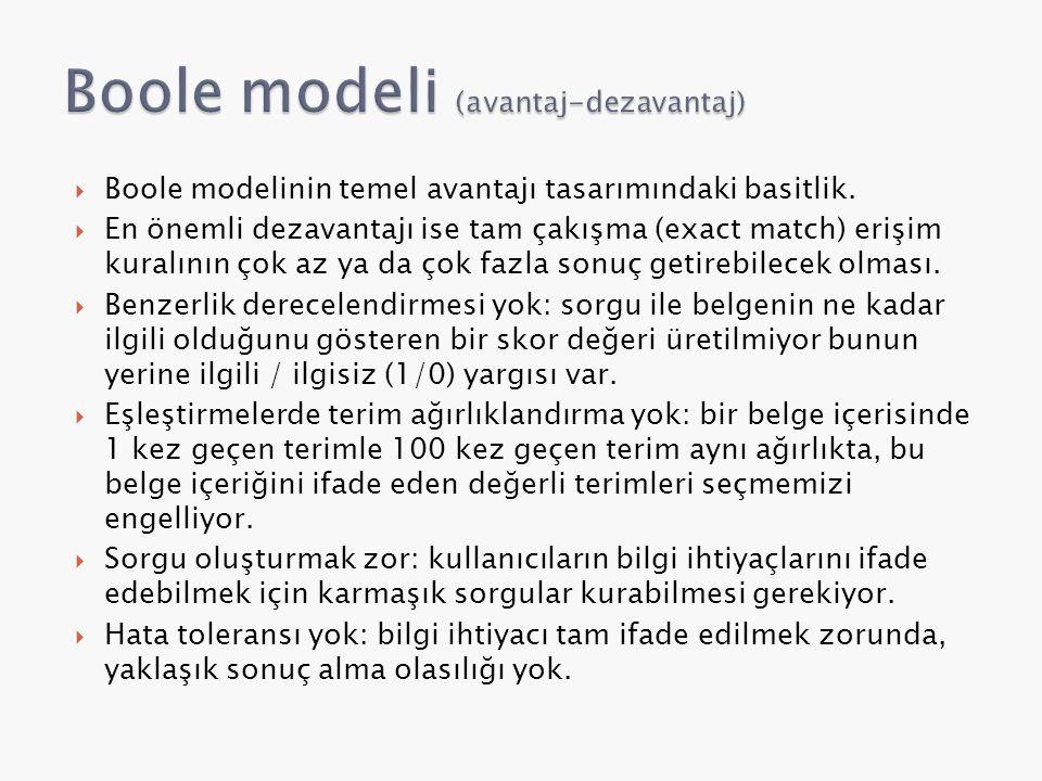 Boole modeli (avantaj-dezavantaj)