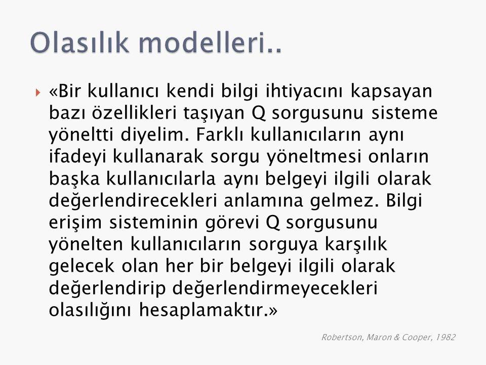 Olasılık modelleri..