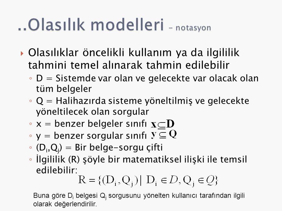 ..Olasılık modelleri - notasyon