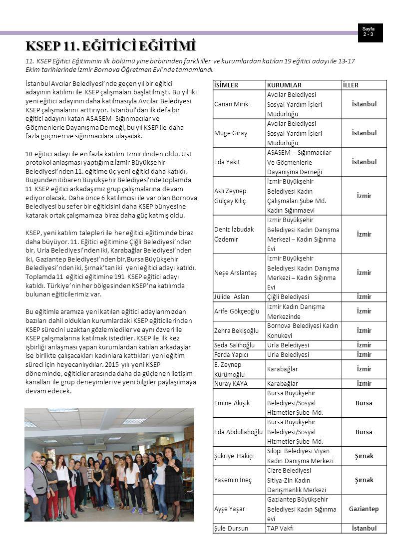 Sayfa 2 - 3. KSEP 11. EĞİTİCİ EĞİTİMİ.