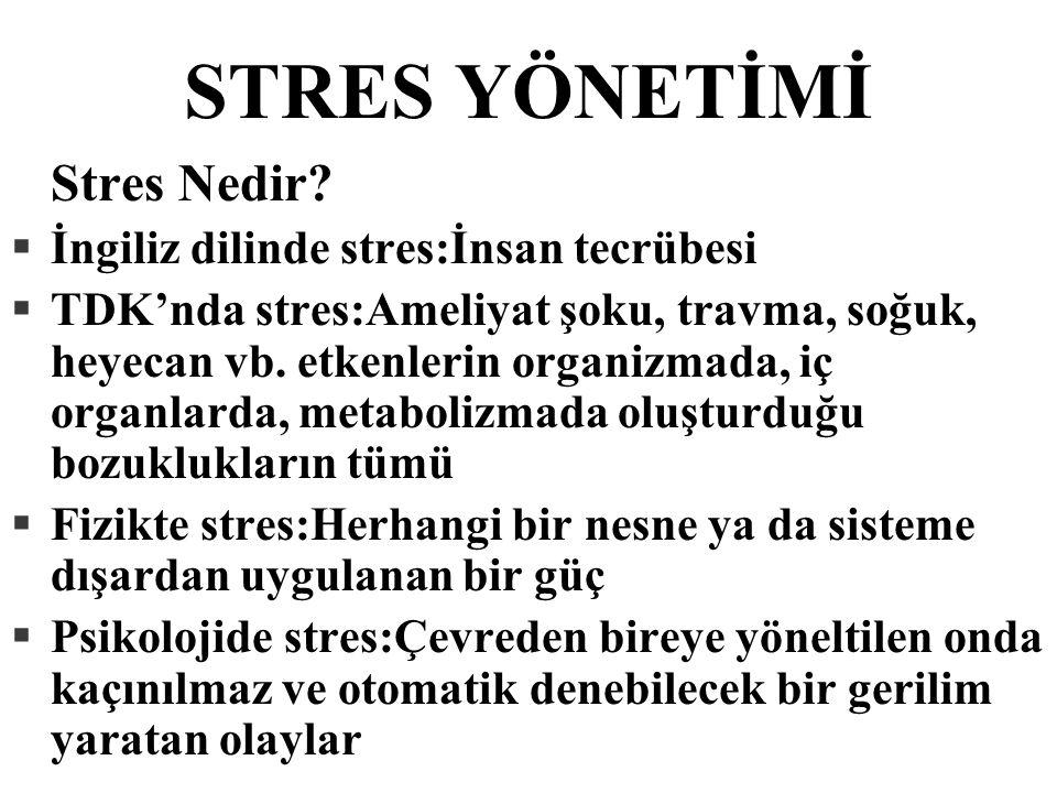 STRES YÖNETİMİ Stres Nedir İngiliz dilinde stres:İnsan tecrübesi