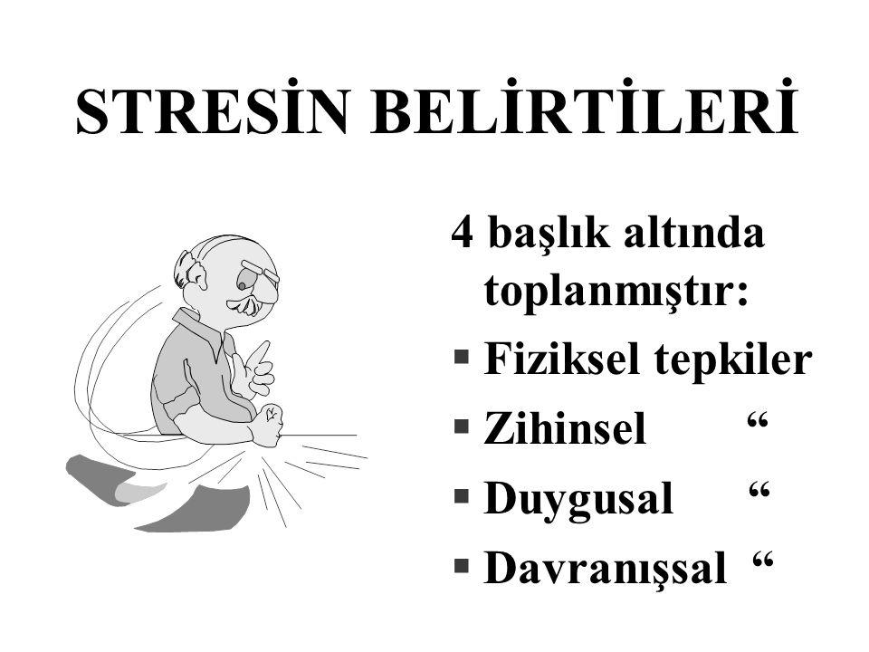 STRESİN BELİRTİLERİ 4 başlık altında toplanmıştır: Fiziksel tepkiler