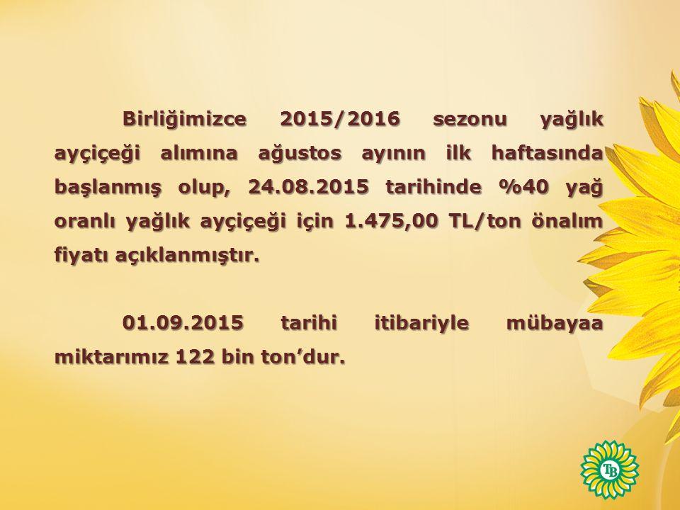 Birliğimizce 2015/2016 sezonu yağlık ayçiçeği alımına ağustos ayının ilk haftasında başlanmış olup, 24.08.2015 tarihinde %40 yağ oranlı yağlık ayçiçeği için 1.475,00 TL/ton önalım fiyatı açıklanmıştır.