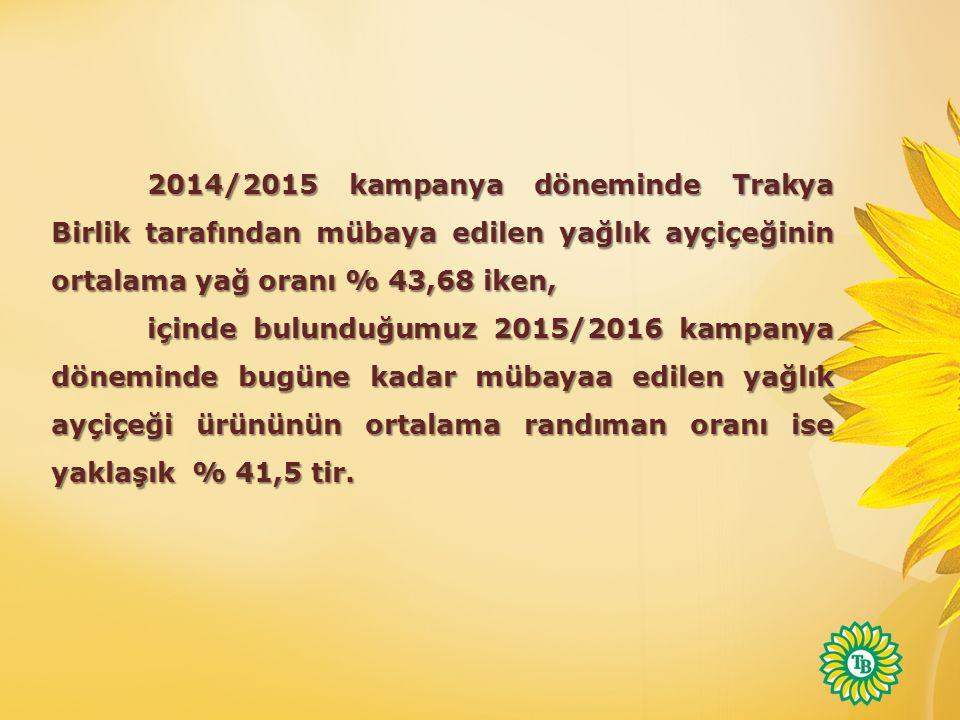 2014/2015 kampanya döneminde Trakya Birlik tarafından mübaya edilen yağlık ayçiçeğinin ortalama yağ oranı % 43,68 iken,