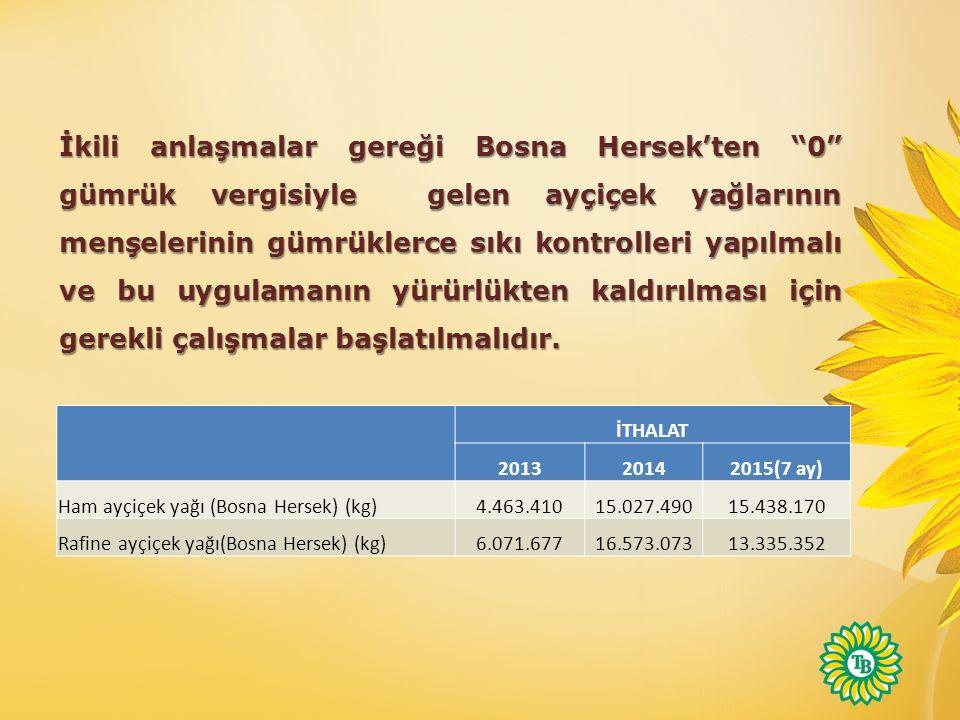 İkili anlaşmalar gereği Bosna Hersek'ten 0 gümrük vergisiyle gelen ayçiçek yağlarının menşelerinin gümrüklerce sıkı kontrolleri yapılmalı ve bu uygulamanın yürürlükten kaldırılması için gerekli çalışmalar başlatılmalıdır.