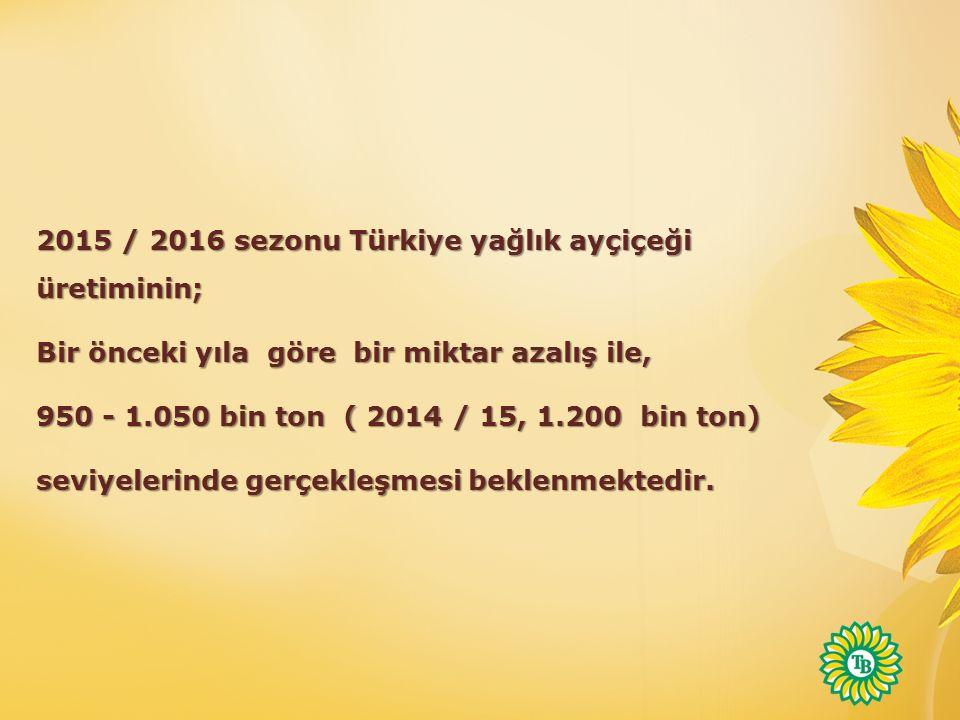 2015 / 2016 sezonu Türkiye yağlık ayçiçeği üretiminin;