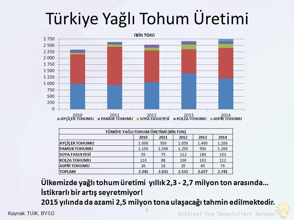 Türkiye Yağlı Tohum Üretimi