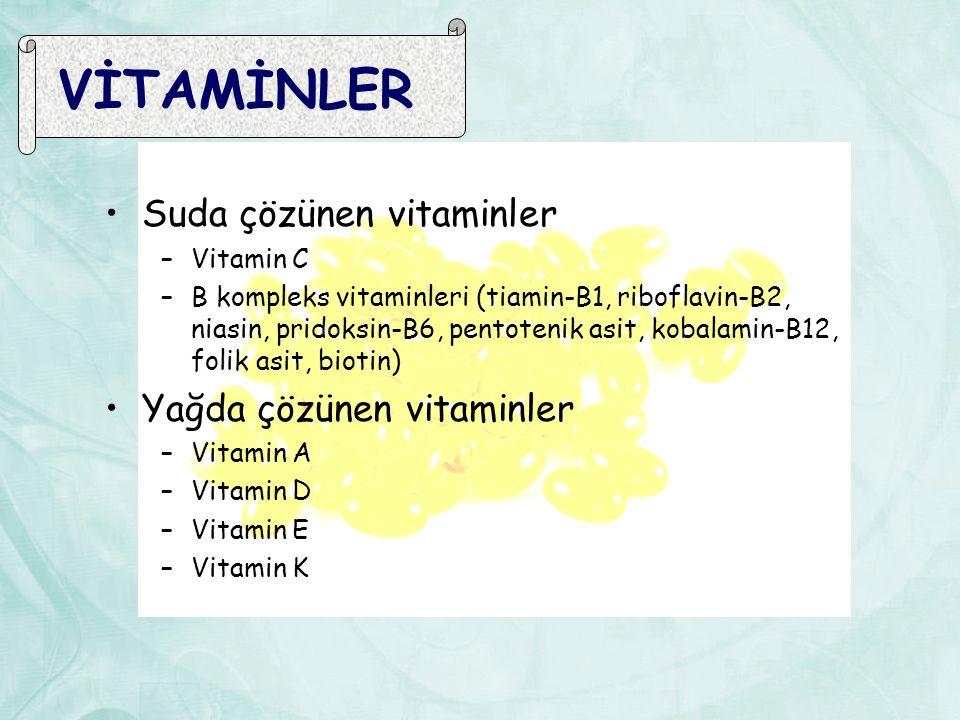 VİTAMİNLER Suda çözünen vitaminler Yağda çözünen vitaminler Vitamin C