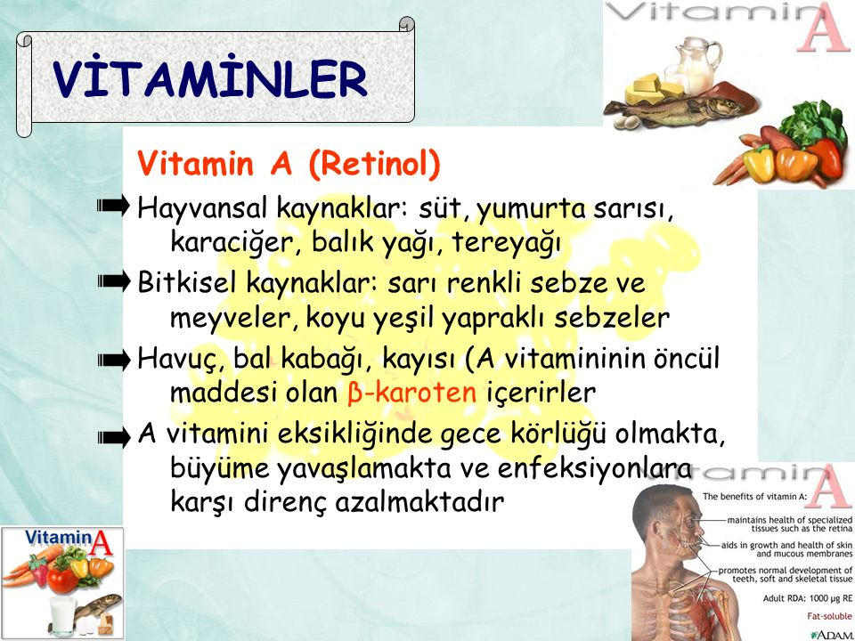 VİTAMİNLER Vitamin A (Retinol)