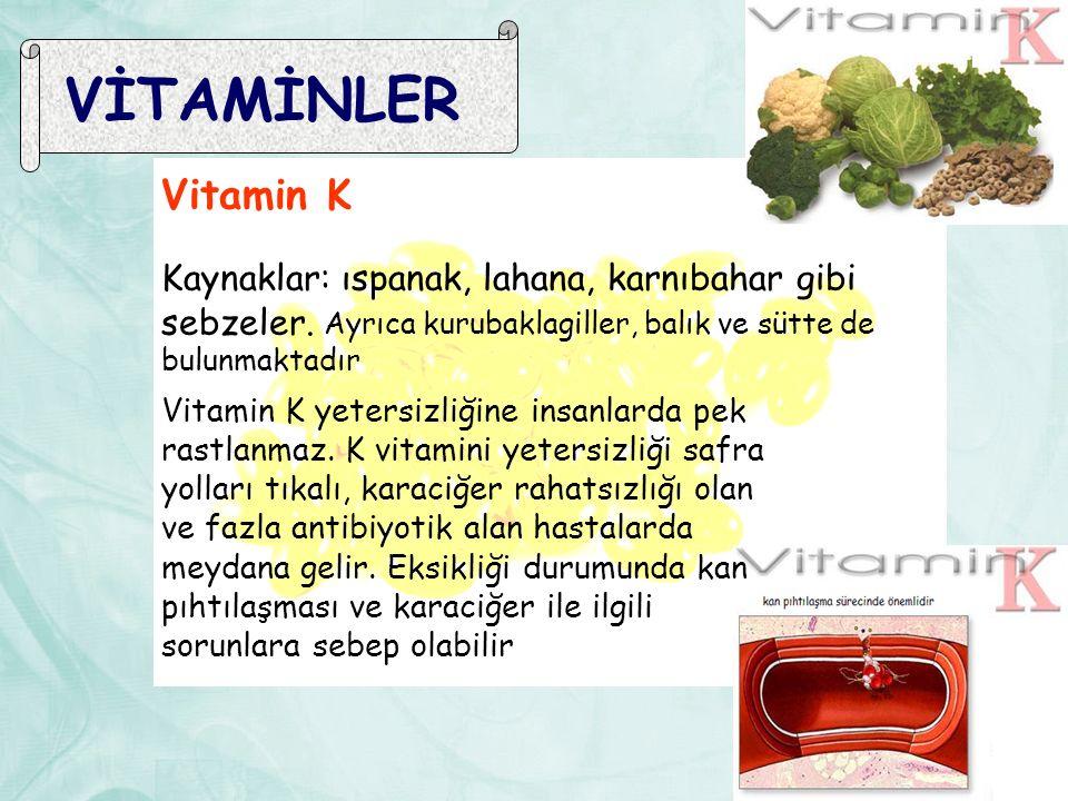 VİTAMİNLER Vitamin K. Kaynaklar: ıspanak, lahana, karnıbahar gibi sebzeler. Ayrıca kurubaklagiller, balık ve sütte de bulunmaktadır.