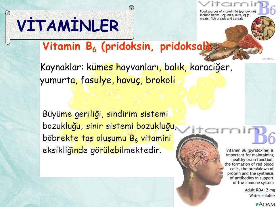 VİTAMİNLER Vitamin B6 (pridoksin, pridoksal) Kaynaklar: kümes hayvanları, balık, karaciğer, yumurta, fasulye, havuç, brokoli.