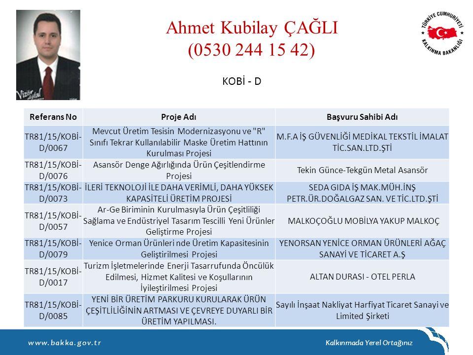Ahmet Kubilay ÇAĞLI (0530 244 15 42) KOBİ - D Referans No Proje Adı