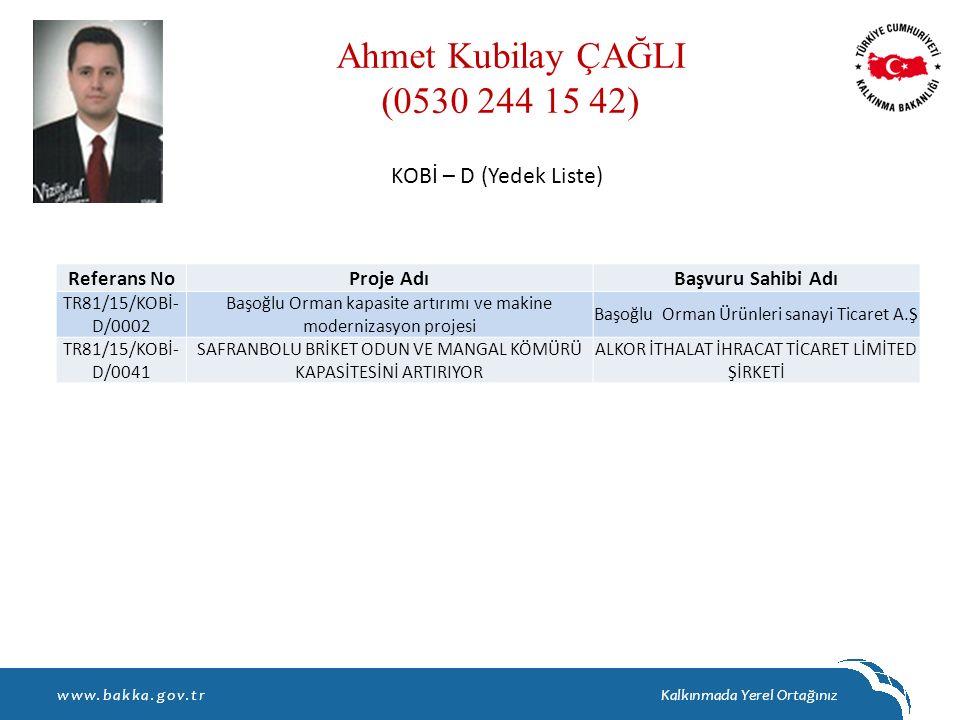 Ahmet Kubilay ÇAĞLI (0530 244 15 42) KOBİ – D (Yedek Liste)