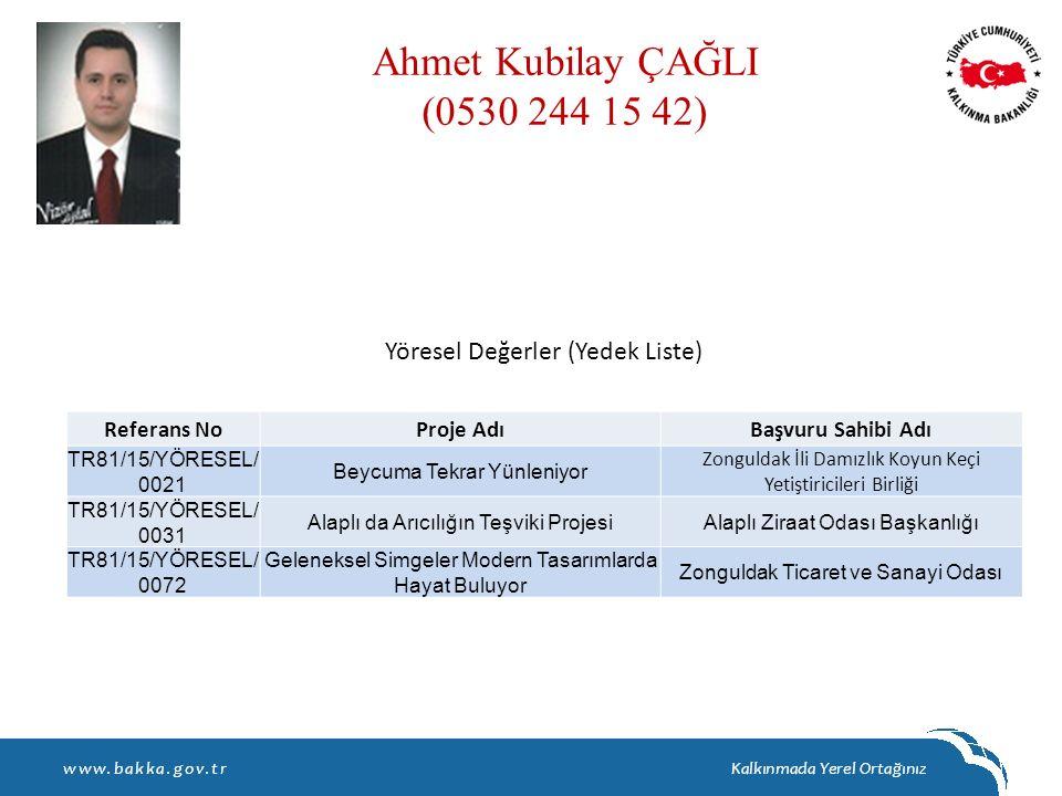 Ahmet Kubilay ÇAĞLI (0530 244 15 42) Yöresel Değerler (Yedek Liste)