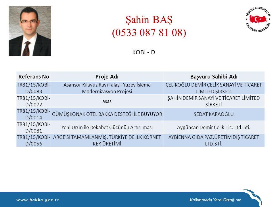 Şahin BAŞ (0533 087 81 08) KOBİ - D Referans No Proje Adı