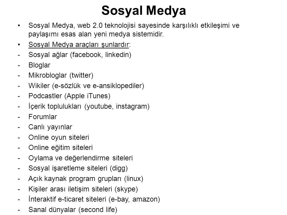 Sosyal Medya Sosyal Medya, web 2.0 teknolojisi sayesinde karşılıklı etkileşimi ve paylaşımı esas alan yeni medya sistemidir.