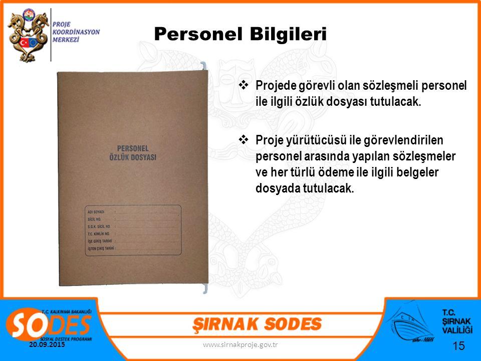 Personel Bilgileri Projede görevli olan sözleşmeli personel ile ilgili özlük dosyası tutulacak.