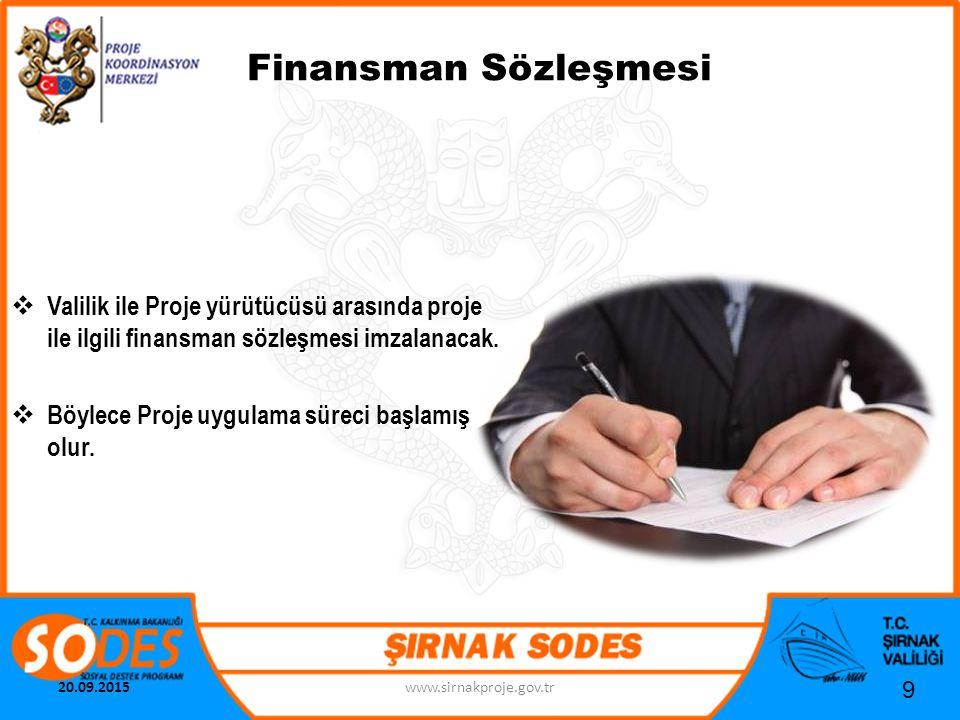 Finansman Sözleşmesi Valilik ile Proje yürütücüsü arasında proje ile ilgili finansman sözleşmesi imzalanacak.