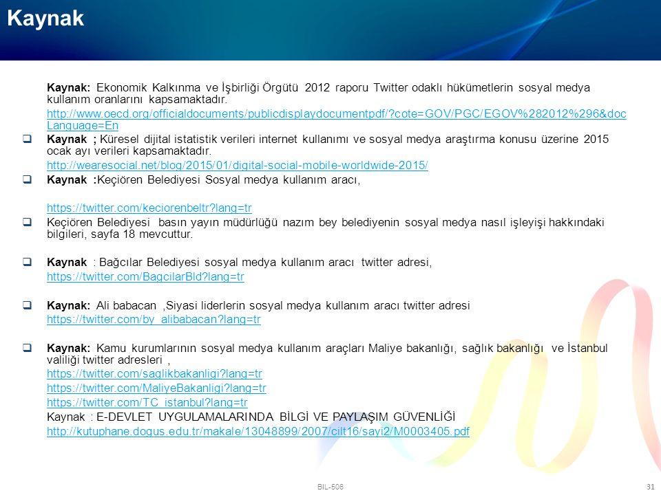 Kaynak Kaynak: Ekonomik Kalkınma ve İşbirliği Örgütü 2012 raporu Twitter odaklı hükümetlerin sosyal medya kullanım oranlarını kapsamaktadır.