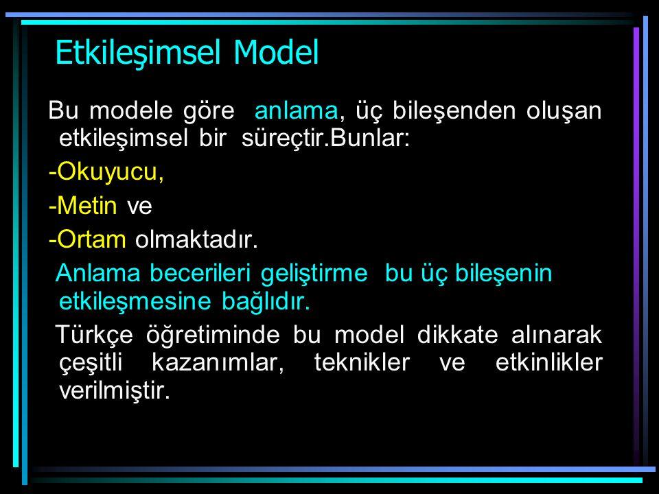 Etkileşimsel Model Bu modele göre anlama, üç bileşenden oluşan etkileşimsel bir süreçtir.Bunlar: -Okuyucu,