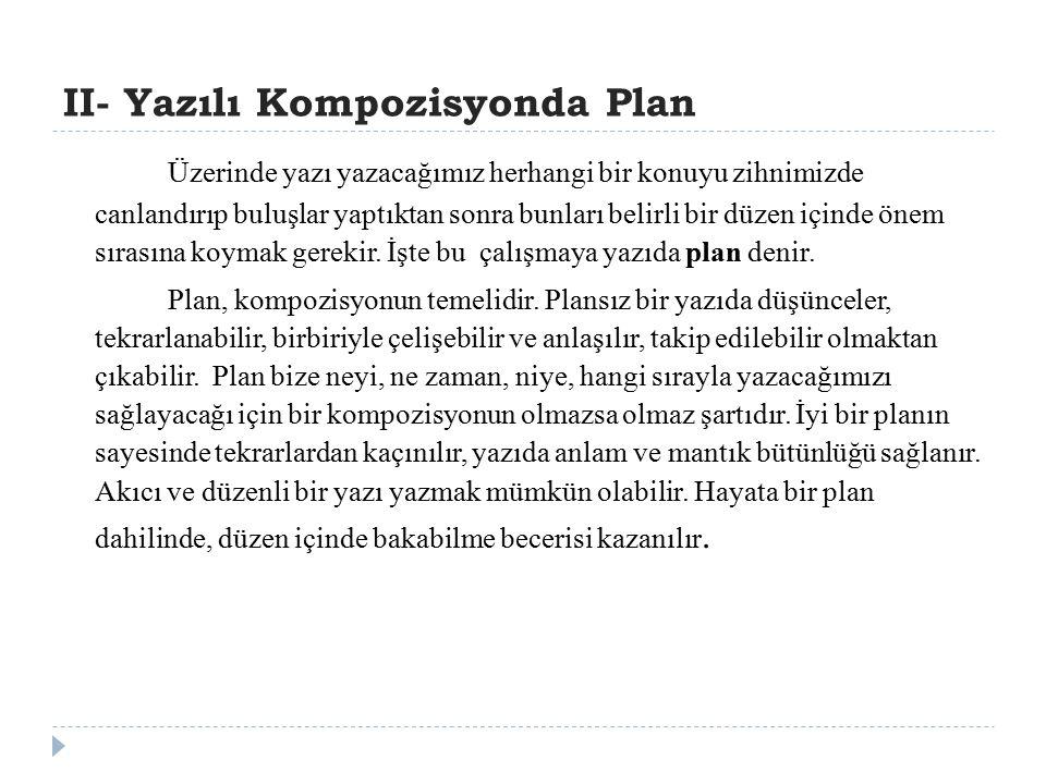 II- Yazılı Kompozisyonda Plan
