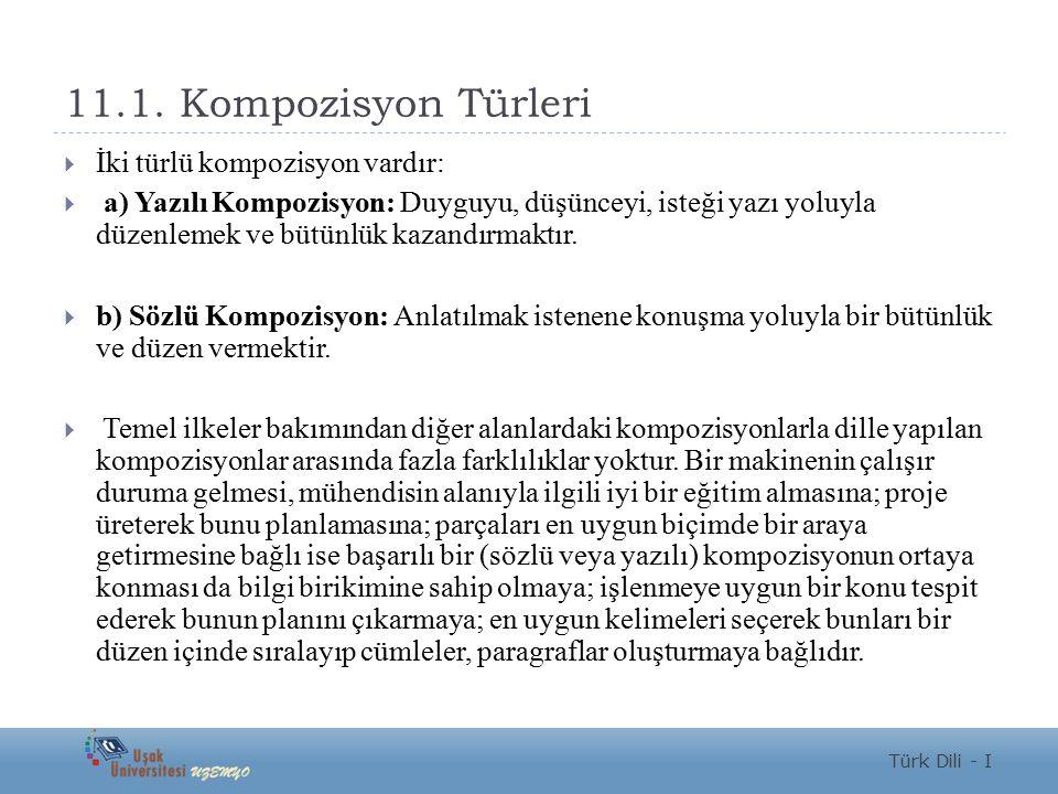 11.1. Kompozisyon Türleri İki türlü kompozisyon vardır: