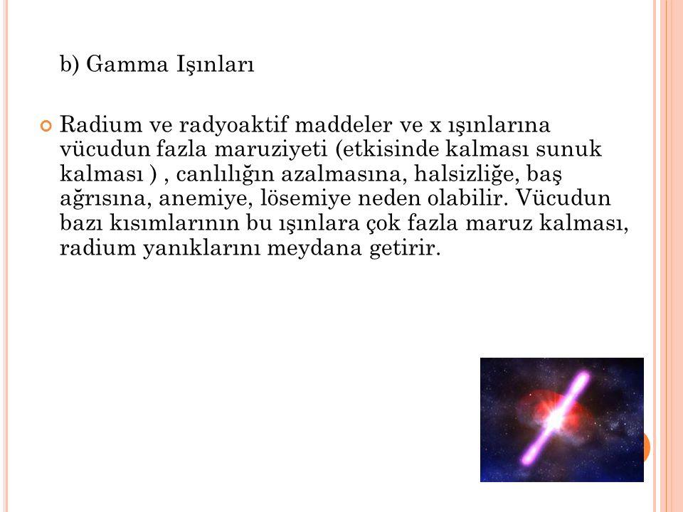 b) Gamma Işınları