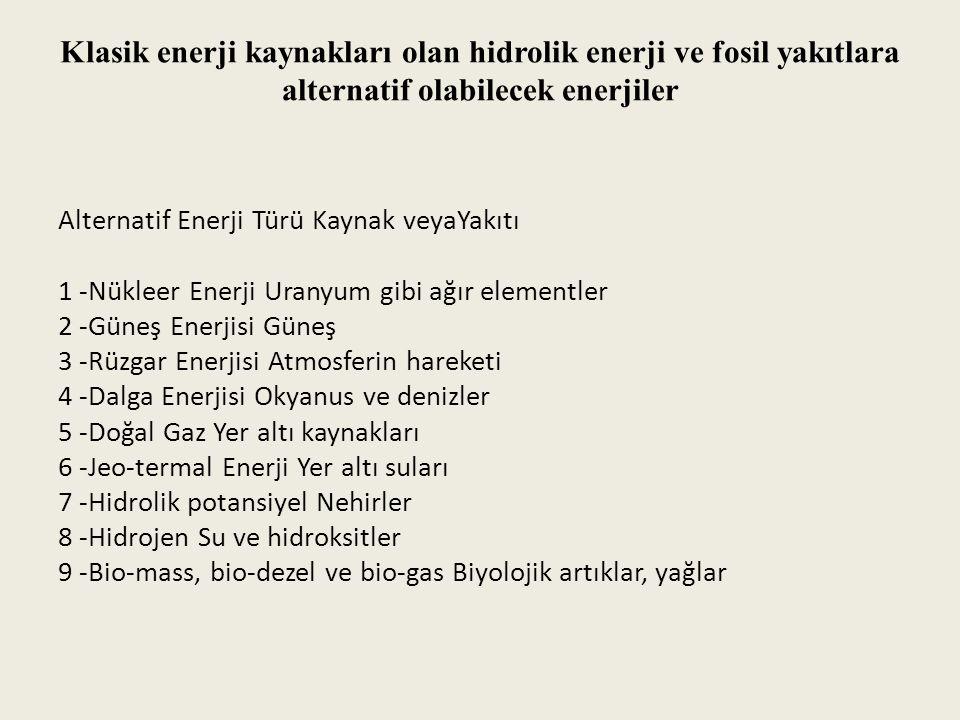 Klasik enerji kaynakları olan hidrolik enerji ve fosil yakıtlara alternatif olabilecek enerjiler