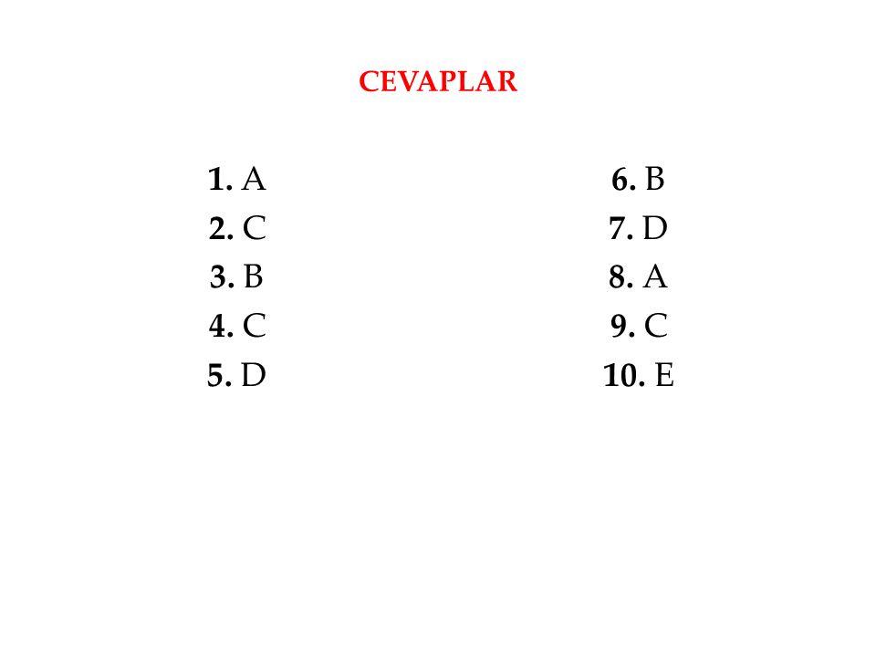 CEVAPLAR 1. A 2. C 3. B 4. C 5. D 6. B 7. D 8. A 9. C 10. E
