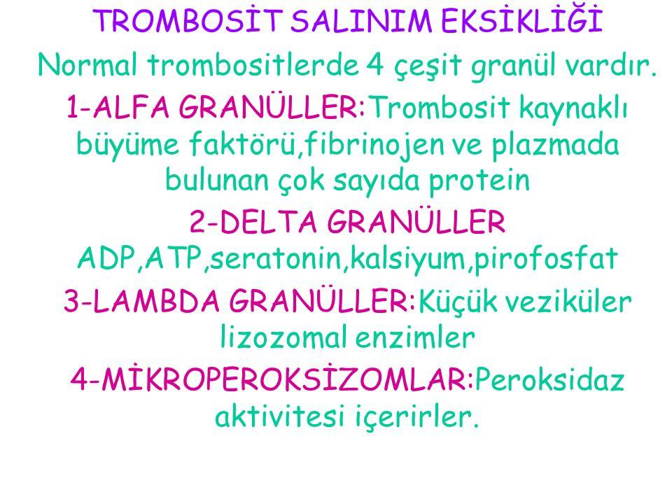 TROMBOSİT SALINIM EKSİKLİĞİ
