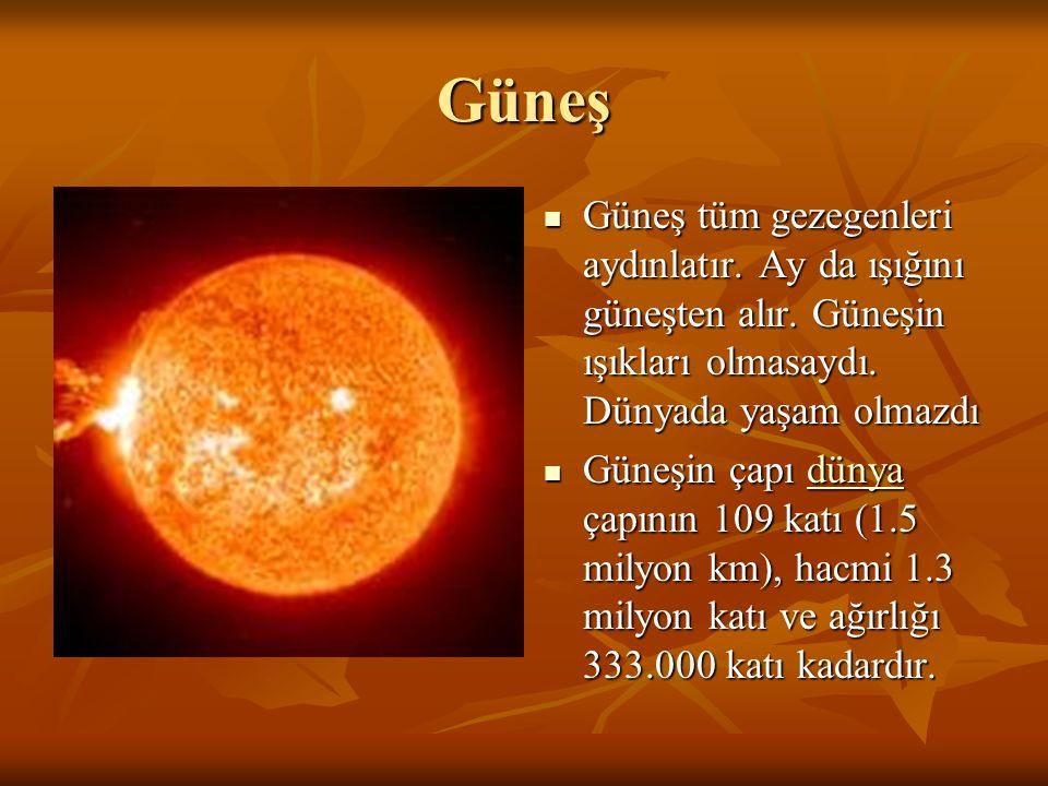 Güneş Güneş tüm gezegenleri aydınlatır. Ay da ışığını güneşten alır. Güneşin ışıkları olmasaydı. Dünyada yaşam olmazdı.