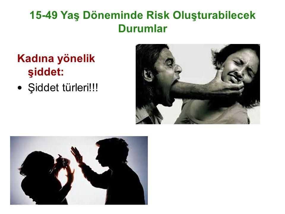 15-49 Yaş Döneminde Risk Oluşturabilecek Durumlar