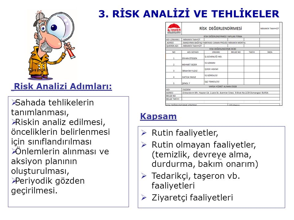 3. RİSK ANALİZİ VE TEHLİKELER