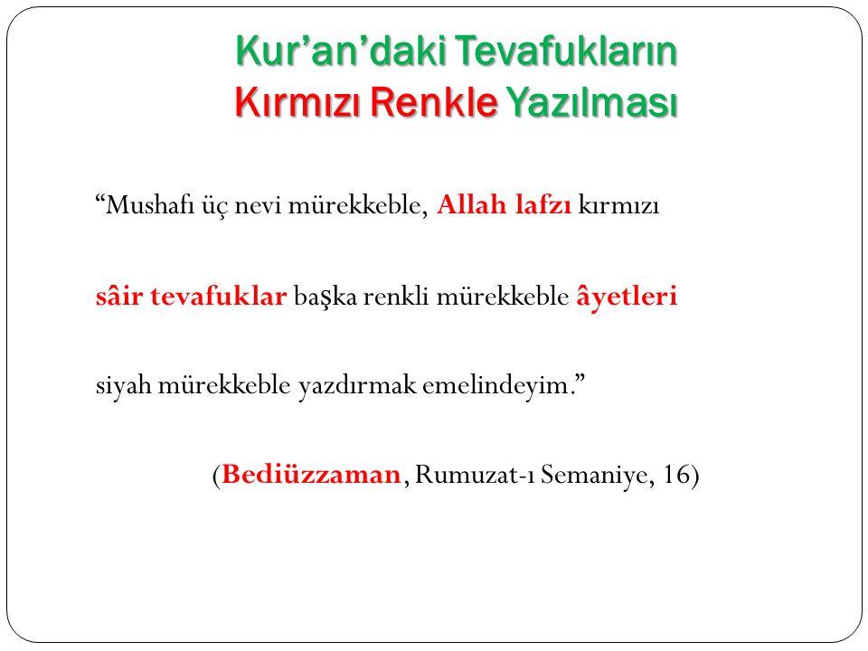 Kur'an'daki Tevafukların Kırmızı Renkle Yazılması