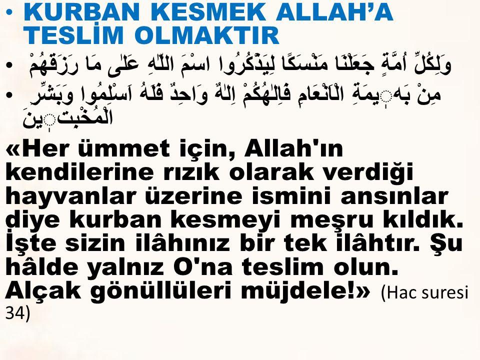 KURBAN KESMEK ALLAH'A TESLİM OLMAKTIR
