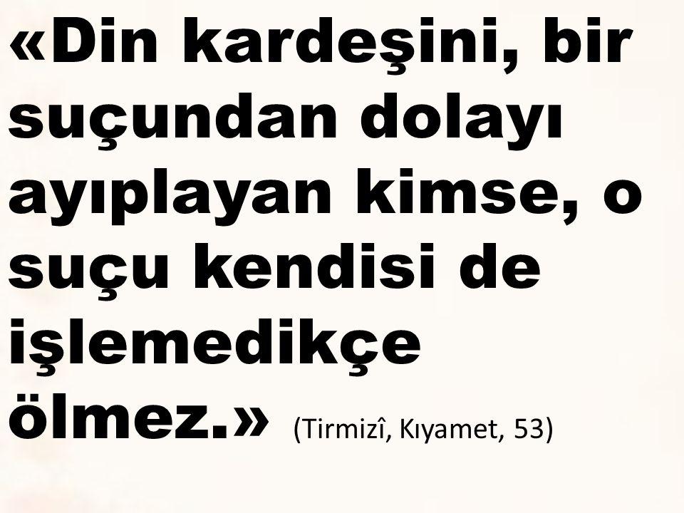 «Din kardeşini, bir suçundan dolayı ayıplayan kimse, o suçu kendisi de işlemedikçe ölmez.» (Tirmizî, Kıyamet, 53)