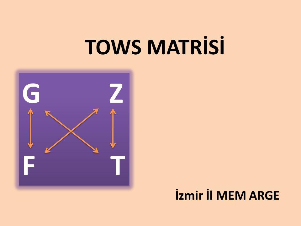 TOWS MATRİSİ G Z F T İzmir İl MEM ARGE