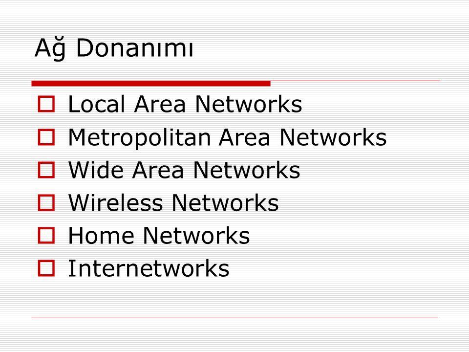 Ağ Donanımı Local Area Networks Metropolitan Area Networks