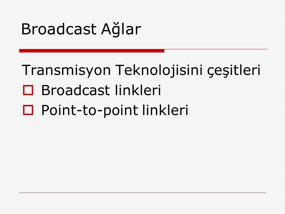 Broadcast Ağlar Transmisyon Teknolojisini çeşitleri Broadcast linkleri