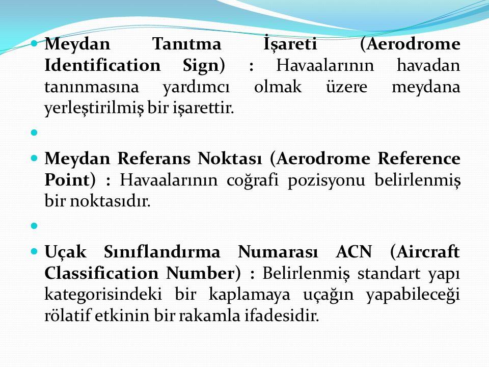 Meydan Tanıtma İşareti (Aerodrome Identification Sign) : Havaalarının havadan tanınmasına yardımcı olmak üzere meydana yerleştirilmiş bir işarettir.