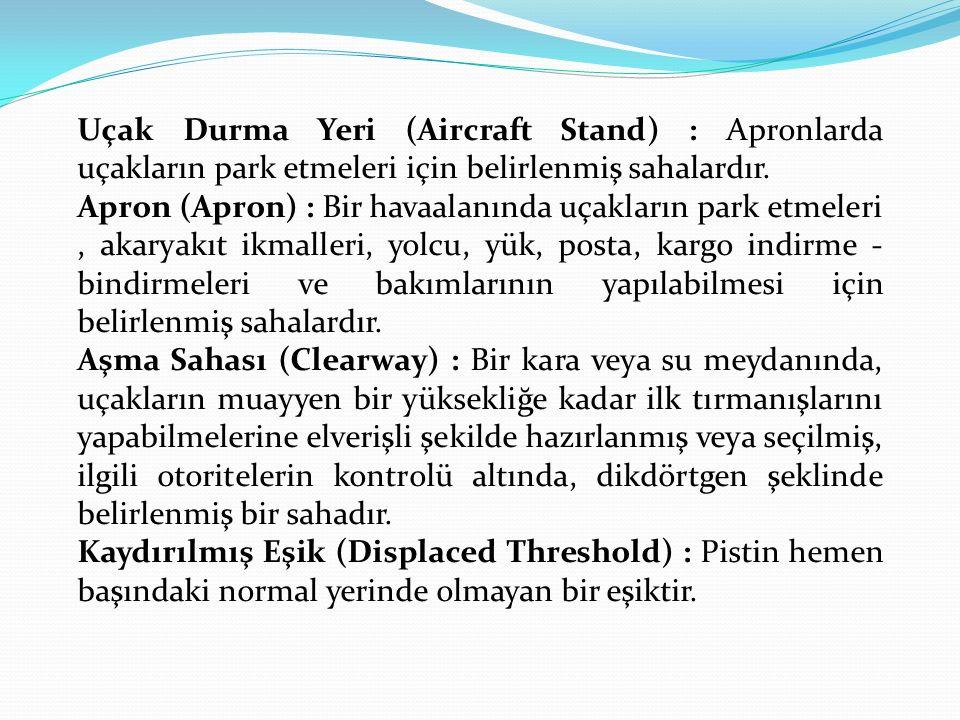 Uçak Durma Yeri (Aircraft Stand) : Apronlarda uçakların park etmeleri için belirlenmiş sahalardır.