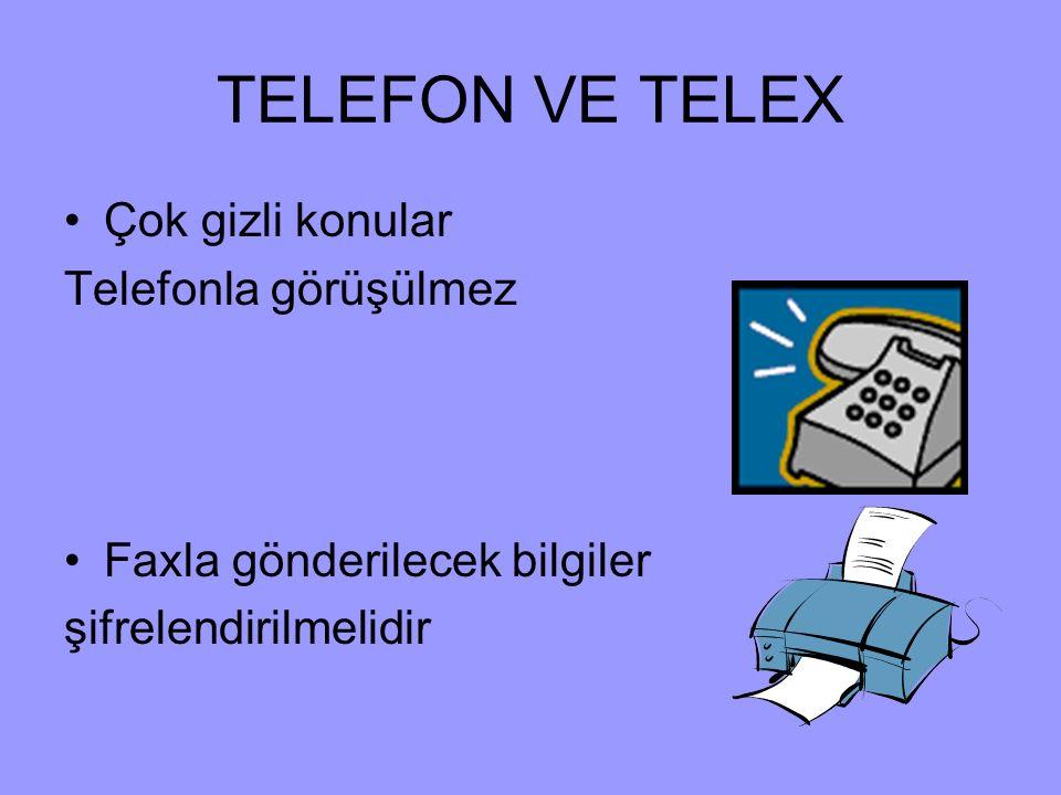 TELEFON VE TELEX Çok gizli konular Telefonla görüşülmez