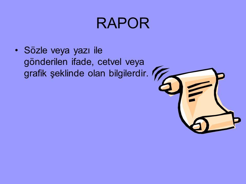 RAPOR Sözle veya yazı ile gönderilen ifade, cetvel veya grafik şeklinde olan bilgilerdir.