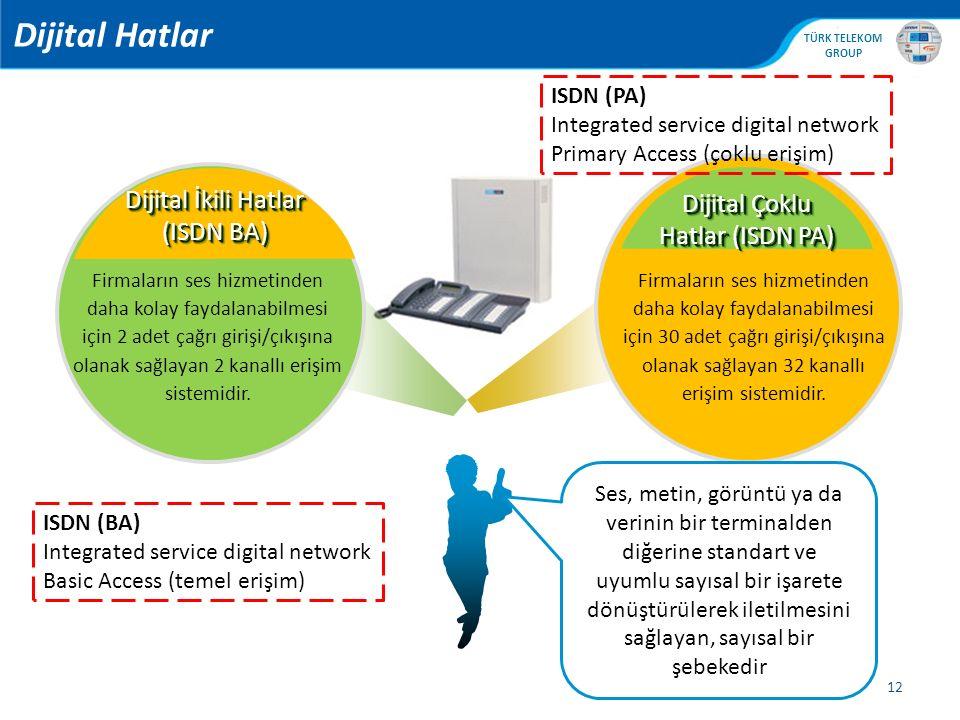 Dijital Hatlar Dijital İkili Hatlar (ISDN BA)